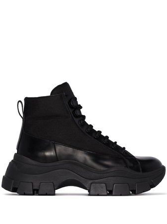 Black Prada Chunky Hiking Boots | Farfetch.com