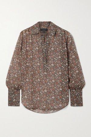Colleen Floral-print Silk-chiffon Blouse - Black