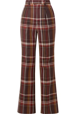 Acne Studios   Checked wool and silk-blend flared pants   NET-A-PORTER.COM