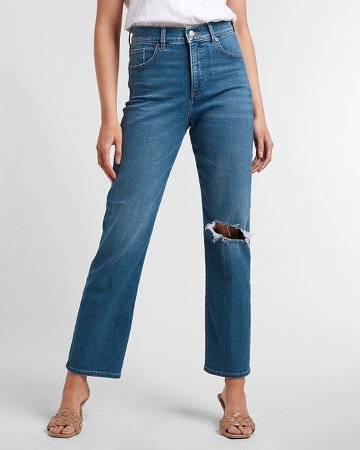 Super High Waisted Ripped Straight Jeans