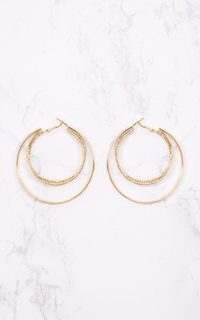 Gold Large Double Hoop Earrings. Accessories | PrettyLittleThing