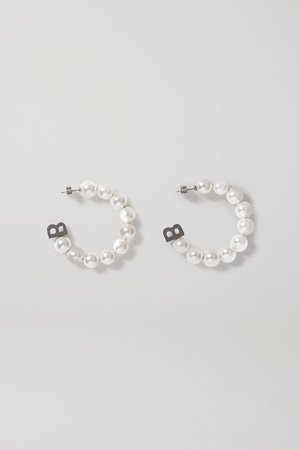 Silver Silver-tone faux pearl hoop earrings | Balenciaga | NET-A-PORTER
