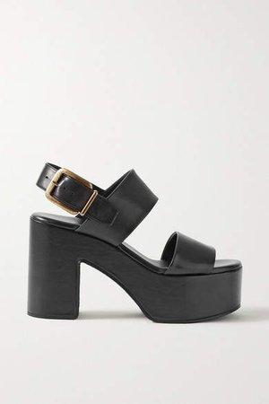 Leather Platform Sandals - Black