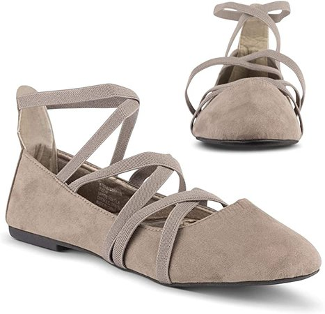 Amazon.com | Twisted Sara Womens Flats | Ballet Flats with Elastic Straps and Comfort Insole | Flats
