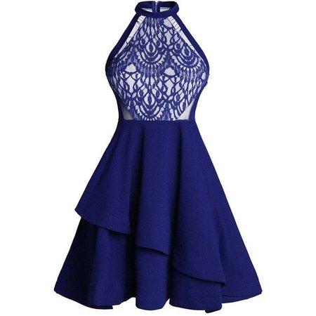 Royal Blue No Sleeve Lace Skater Dress