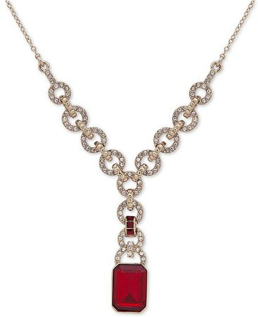 "Lauren Ralph Lauren Pavé & Stone Lariat Necklace, 18"" + 3"" extender - Fashion Jewelry - Jewelry & Watches - Macy's"