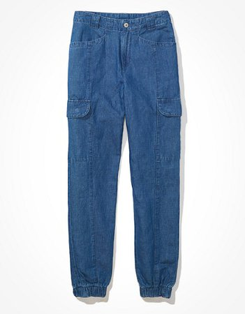 AE Linen Relaxed Mom Jogger Pant blue