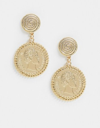 ASOS DESIGN earrings with texture stud and coin drop in gold tone | ASOS