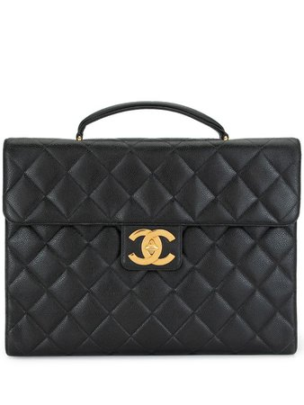 Chanel Pre-Owned Jumbo Diamond Quilt CC Briefcase - Farfetch