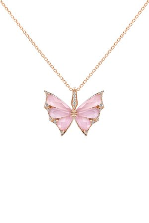 Stephen Webster - 18K Rose Gold Pavè Pink Opal Butterfly Necklace | Mitchell Stores