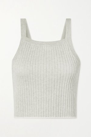 Mariya Cropped Ribbed Cotton And Cashmere-blend Tank - Stone
