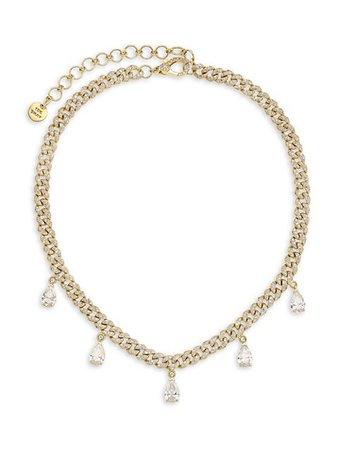 Shay 18K Yellow Gold & Diamond-Link 5 Pear-Cut Drop Choker Necklace | SaksFifthAvenue