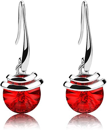 Amazon.com: Crystal French Wire Dangle Drop Earrings (Red): Jewelry