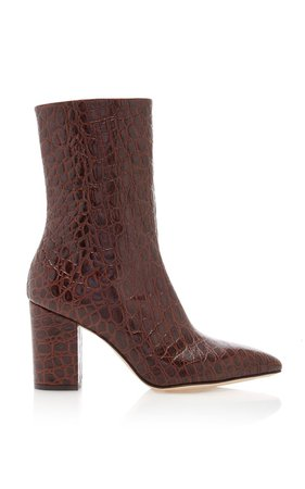Florentia Croc-Embossed Leather Ankle Boots by Paris Texas | Moda Operandi