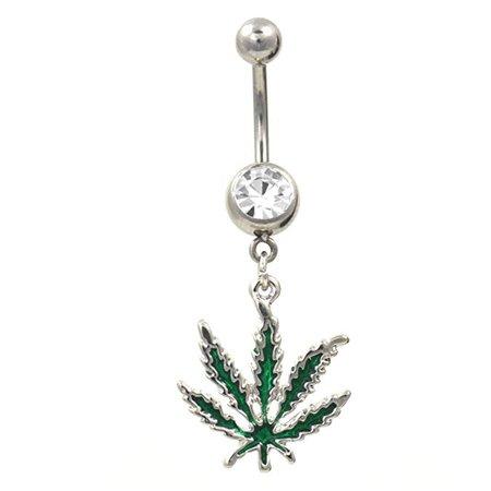 Amazon.com: Green Marijuana Pot Leaf Dangle Navel Ring Belly Button Piercing Jewelry w/Clear CZ Gem: Jewelry