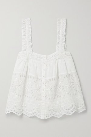 Sully Crochet-trimmed Broderie Anglaise Cotton Tank - White