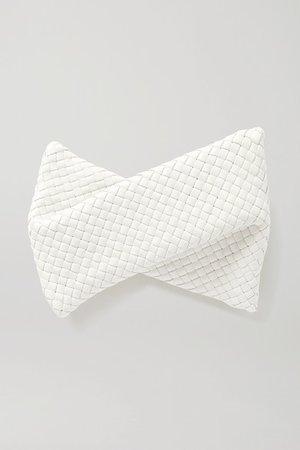 Twist Intrecciato Leather Clutch - Off-white