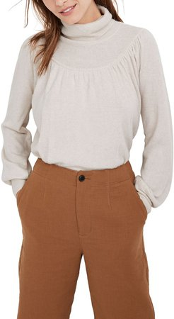 Shirred Balloon Sleeve Turtleneck Sweater