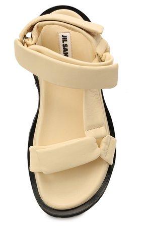 Женские бежевые кожаные сандалии JIL SANDER — купить за 72950 руб. в интернет-магазине ЦУМ, арт. JS36045A-13010