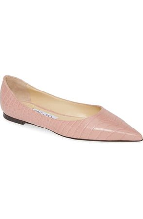 Jimmy Choo Love Croc Embossed Pointed Toe Flat (Women) | Nordstrom
