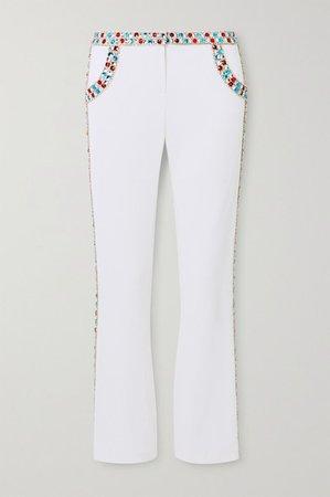 Balmain | Pantalon évasé raccourci en crêpe stretch à cristaux | NET-A-PORTER.COM