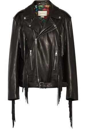 Gucci | Fringed leather biker jacket | NET-A-PORTER.COM