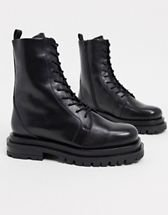 & Other Stories leather tall chunky flat boots in black   ASOS