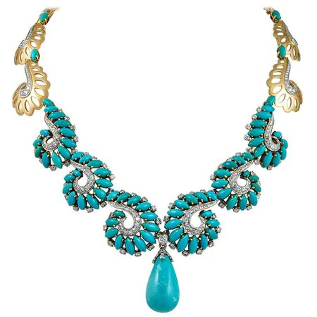 Boucheron Diamond Turquoise Necklace For Sale at 1stDibs