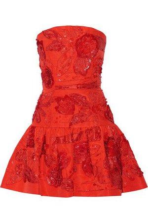 OSCAR DE LA RENTA Embellished silk mini dress