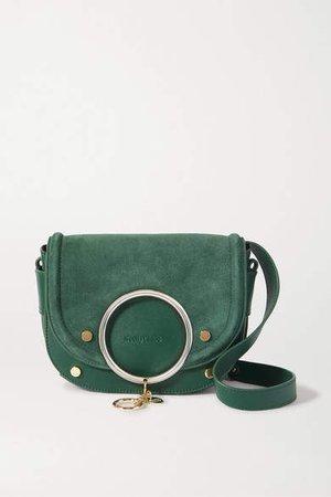 Mara Embellished Suede And Leather Shoulder Bag - Emerald