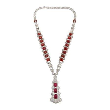 Magnificent Art Deco Ruby Diamond Sautoir Necklace