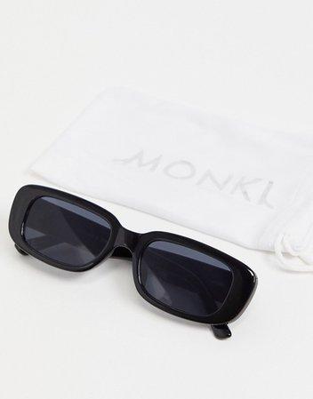Monki Ray rectangular sunglasses in black | ASOS