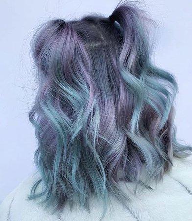 blue hair pigtails