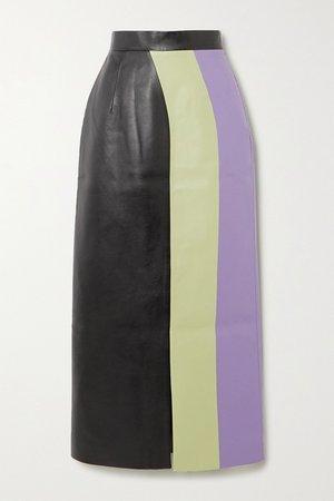 Light green Color-block faux leather midi skirt | MATERIEL | NET-A-PORTER