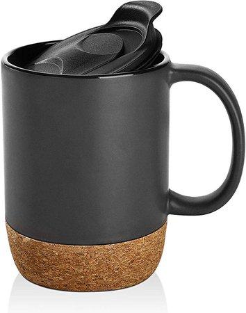 Amazon.com | DOWAN 15 oz Coffee Mug Sets, Set of 2 Large Ceramic Mugs, with Insulated Cork and Splash Proof Mug Lid, Matte Grey: Coffee Cups & Mugs