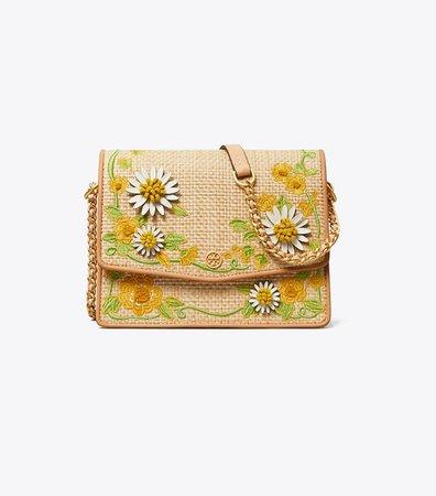 Robinson Embroidered Straw Convertible Shoulder Bag: Women's Handbags   Tory Burch