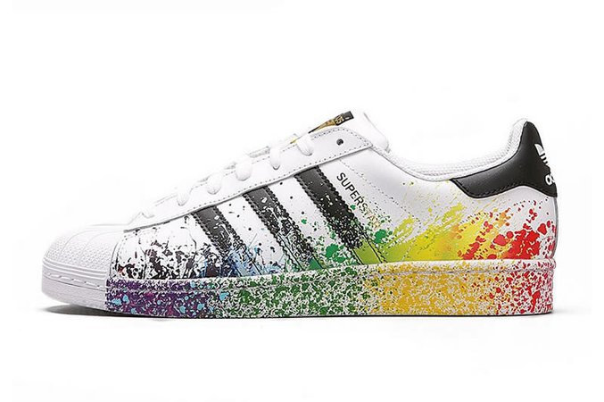 "Adidas Originals Superstar Pride Pack ""Rainbow Paint Splatter"" D70351 Casual Shoes"