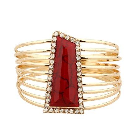 Gold Multilayer Bangle Red Stone Bracelet