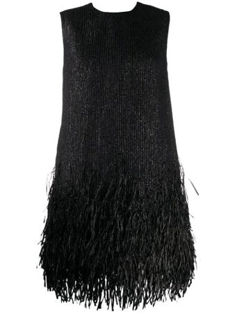 Black MSGM fringe-trimmed mini dress - Farfetch