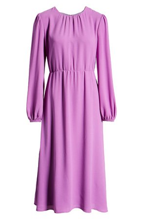 Halogen® Long Sleeve Midi Dress (Regular & Petite) | Nordstrom