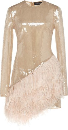 Feather-Trimmed Sequined Mini Dress