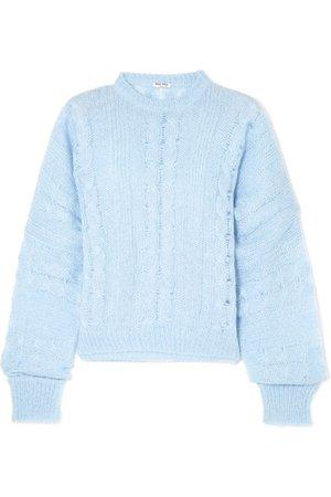 Miu Miu   Oversized-Pullover aus einer Mohairmischung mit Zopfstrickmuster   NET-A-PORTER.COM
