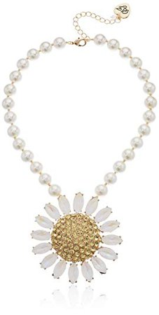 Betsey Johnson Large Pave Daisy Flower Pendant Pearl Strand Necklace, Yellow, One Size: Clothing