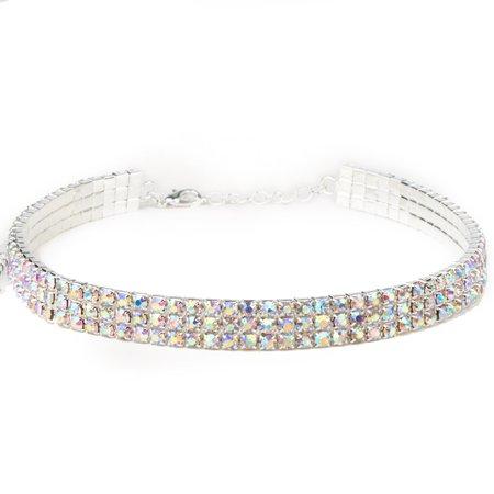 3 Row Stretch Rhinestone Choker Necklace Crystal AB/Silver   Dreamtime Creations