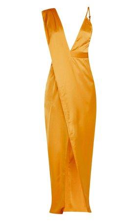 Mustard Asymmetric Drape Detail Maxi Dress | PrettyLittleThing USA