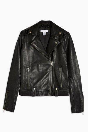 TALL Leather Biker Jacket Black   Topshop