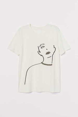 T-shirt with Appliques - White