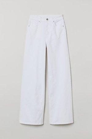 Wide-leg Twill Pants - White - Ladies | H&M US