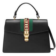 Black Leather Sylvie Medium Top Handle Bag   GUCCI® US