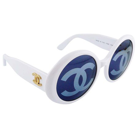 Chanel Vintage 1993 Iconic CC Lenses White Sunglasses For Sale at 1stdibs